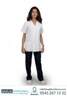 Beyaz Renk 3 Cepli Bayan Doktor Forması