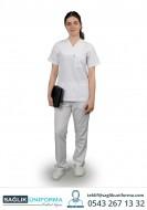 Bayan Hemşire Forması Beyaz Takım