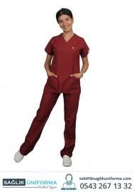Hemşire Forması Bordo Renk Takım