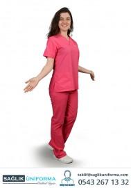Bayan Hemşire Forması Pembe Renkli Takım